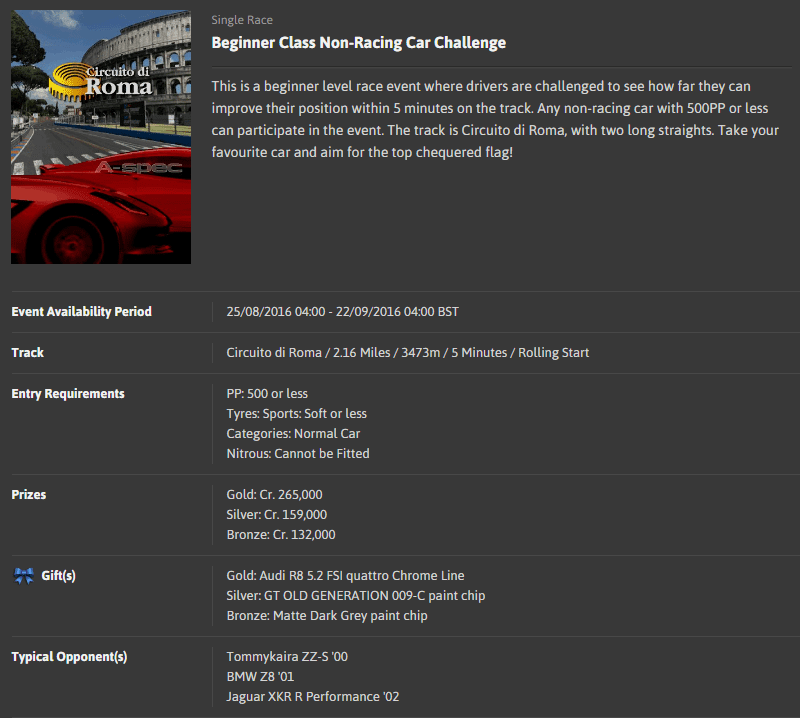 A-spec #44 Beginners Level Non-Racing Car Challenge @ Circuito di Roma.png
