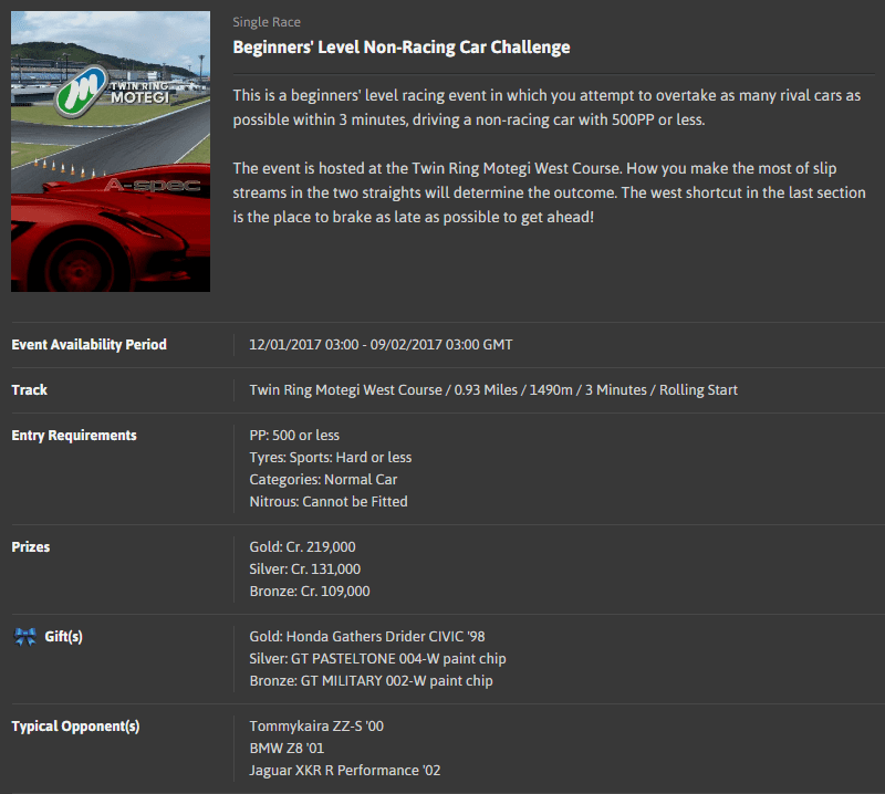 A-spec #49 Beginners' Level Non-Racing Car Challenge @ Twin Ring Motegi West Course.png