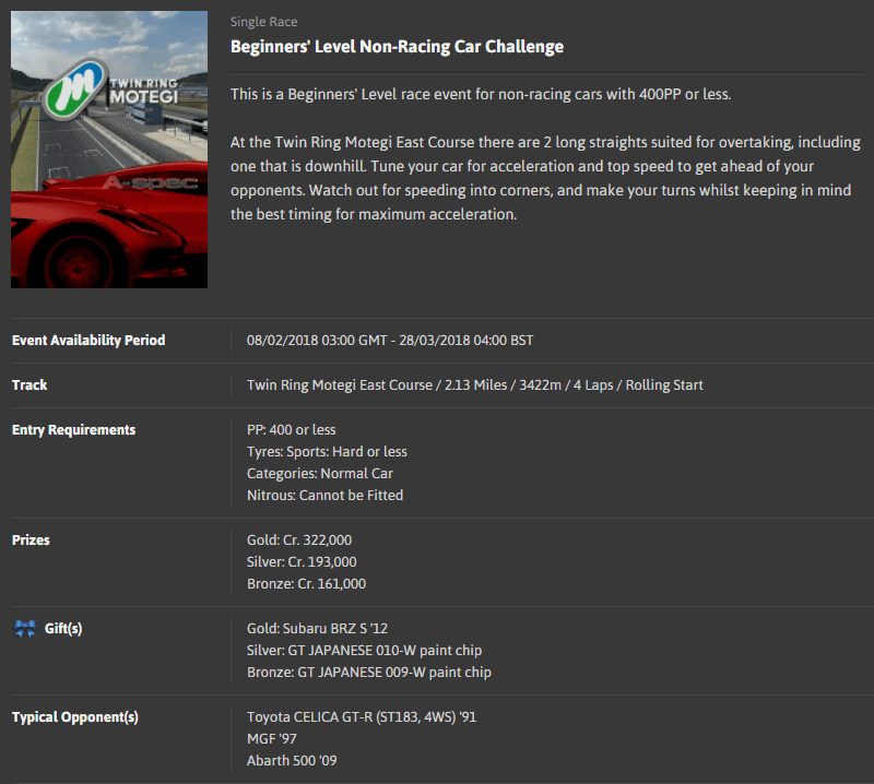 A-spec #63 Beginners' Level Non-Racing Car Challenge @ Twin Ring Motegi East Course.png