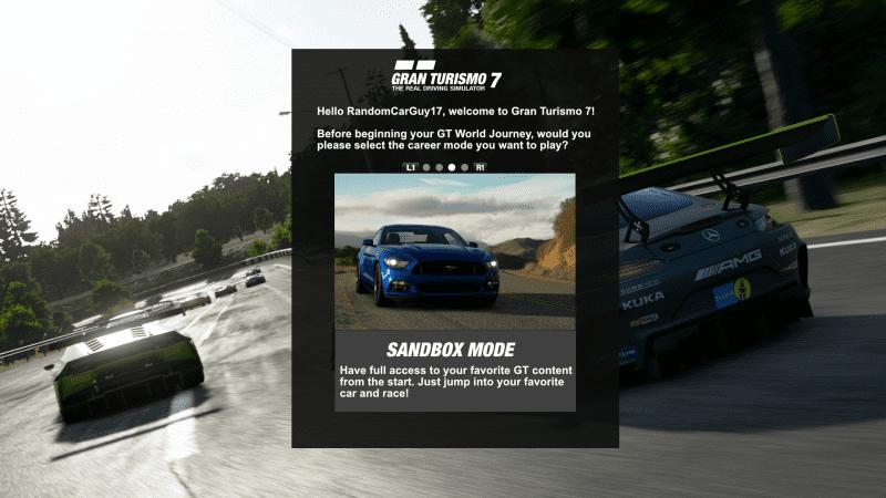 GT7 - Career Mode Selection V3 - Sandbox Mode.png
