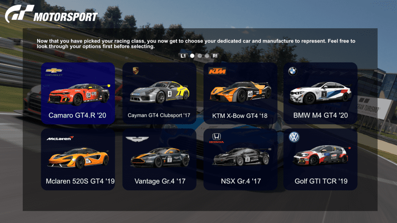 GT7 - Motorsport Mode - GT4 Choices.png