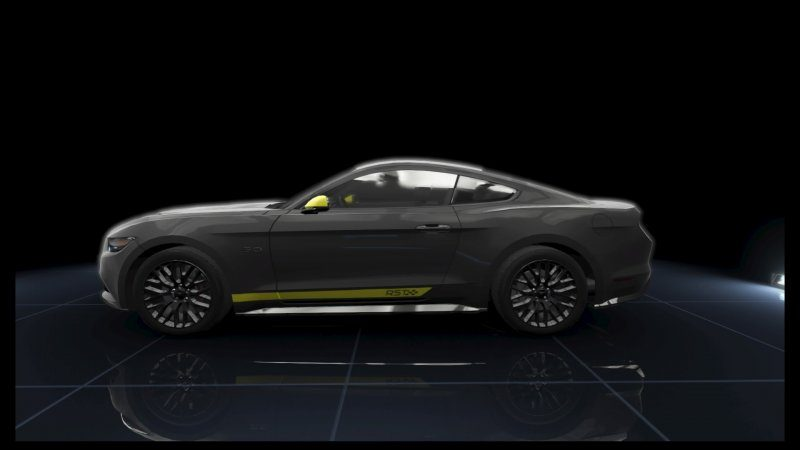 Mustang GT Black Matte Yellow Stripes.jpeg