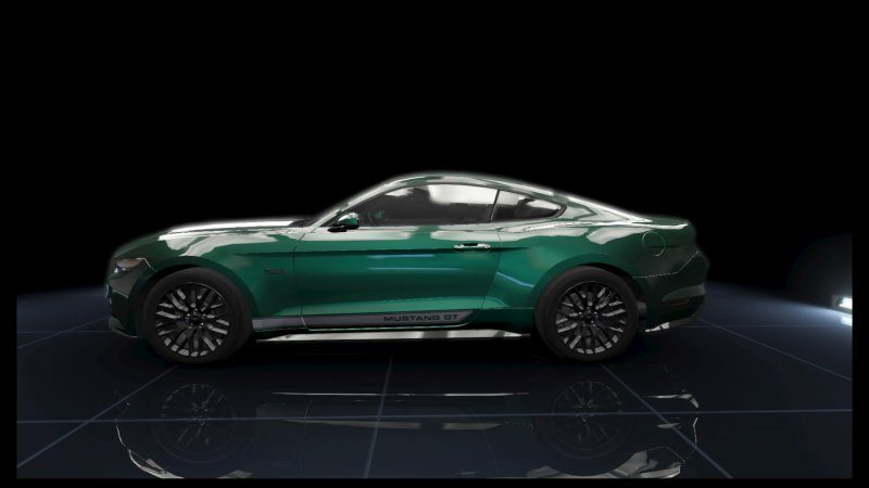 Mustang GT Dark Green Metallic White Stripes.jpeg