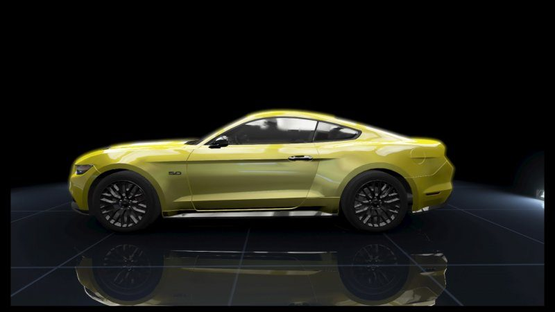 Mustang GT Yellow Metallic Black Stripes.jpeg