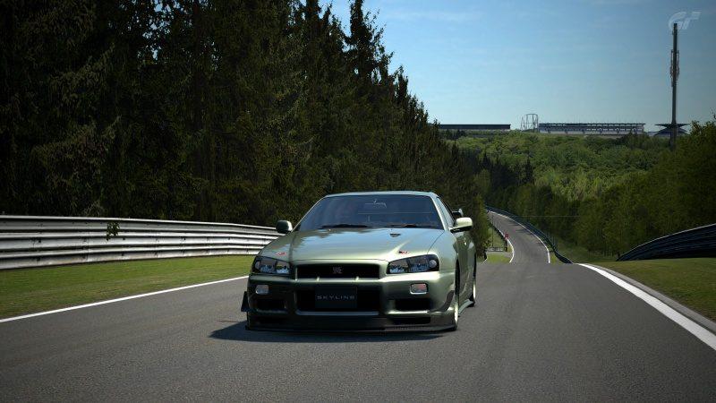 Nissan SKYLINE GT-R V-spec II Nür (R34) '02 Millennium Jade (M)-At Nürburgring Nordschleife 4.jpg