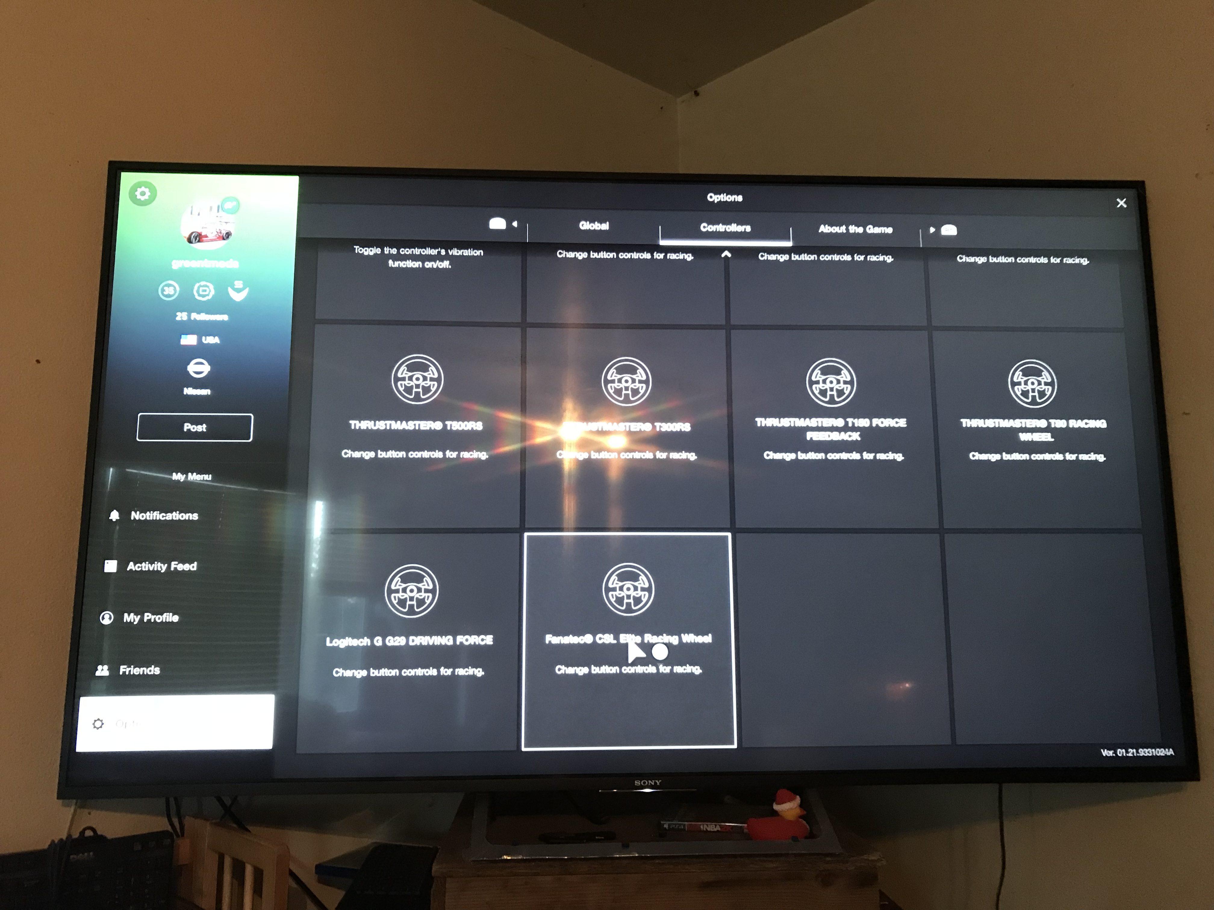 Force feedback and wheel settings