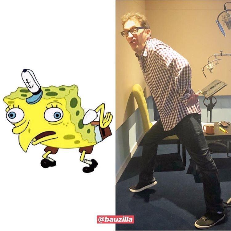 Tom Kenny Doing The Mocking Spongebob Meme