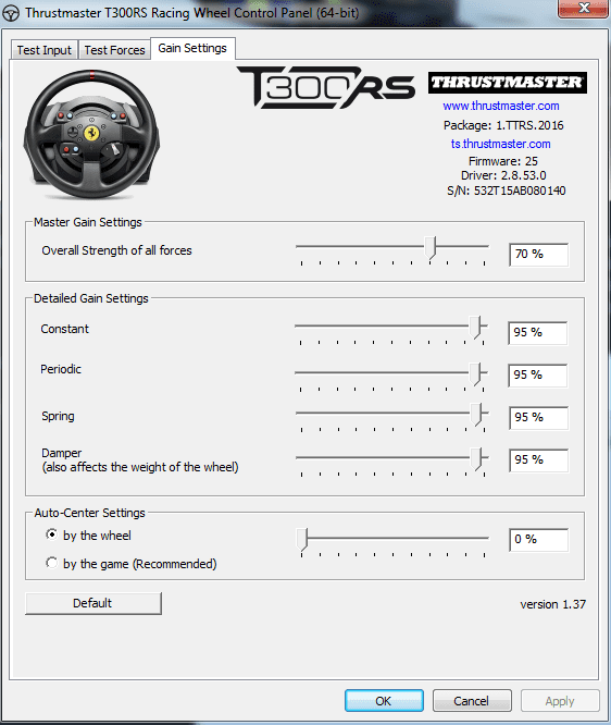 T300 Problem Auto-Center calibrate?