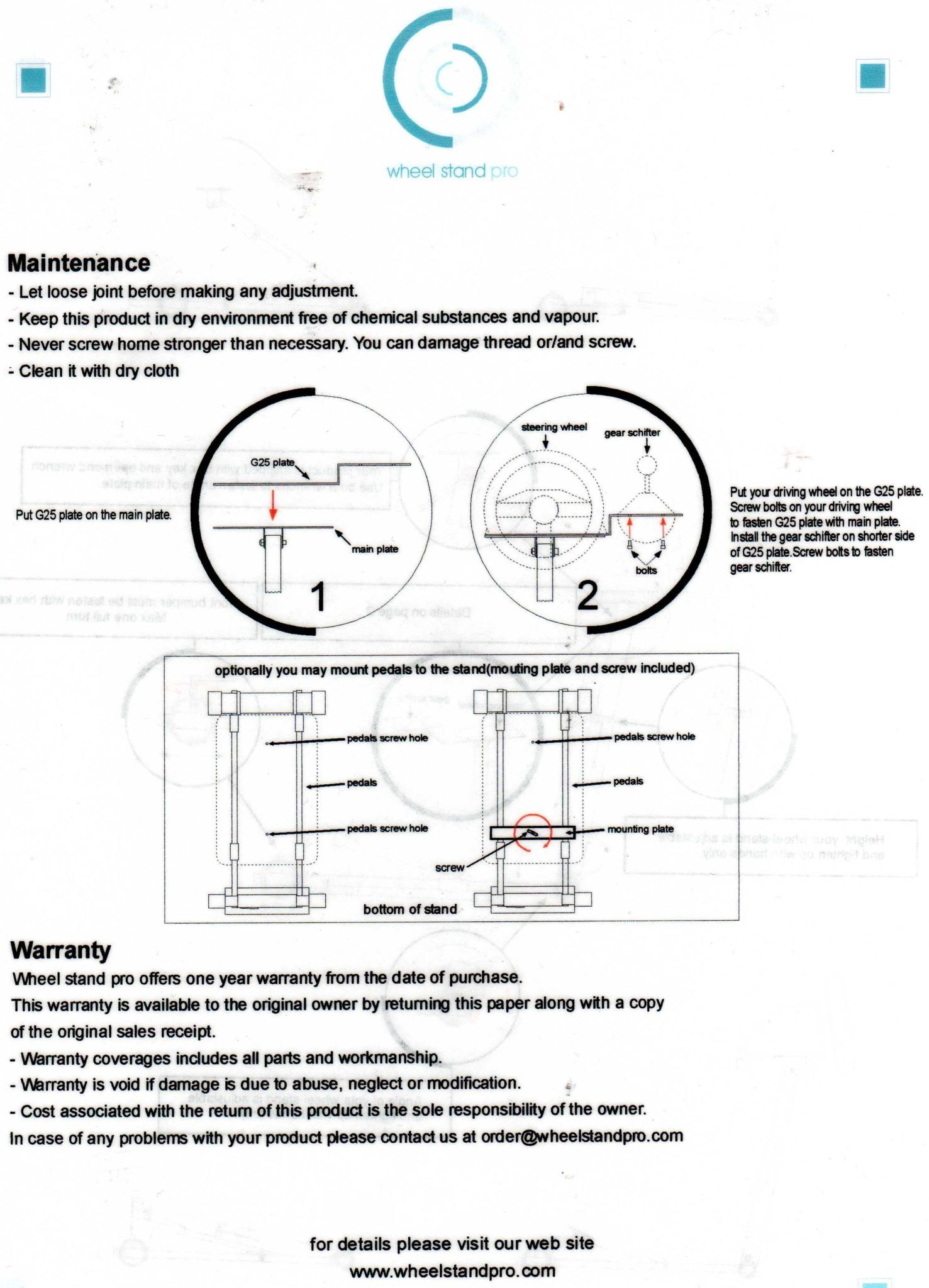 Wheel Stand Pro - Instruction Sheet