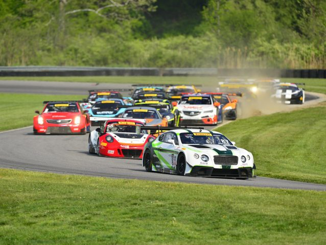 Lakeville, CT - May 27, 2016: The Pirelli World Challenge racers take to the track on Pirelli tires during the The Pirelli World Challenge Grand Prix of Lime Rock Presented by Bentley at the Lime Rock Park in Lakeville, CT.