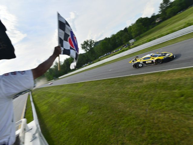 Lakeville, CT - May 28, 2016: The Pirelli World Challenge racers take to the track on Pirelli tires during the The Pirelli World Challenge Grand Prix of Lime Rock Presented by Bentley at the Lime Rock Park in Lakeville, CT.