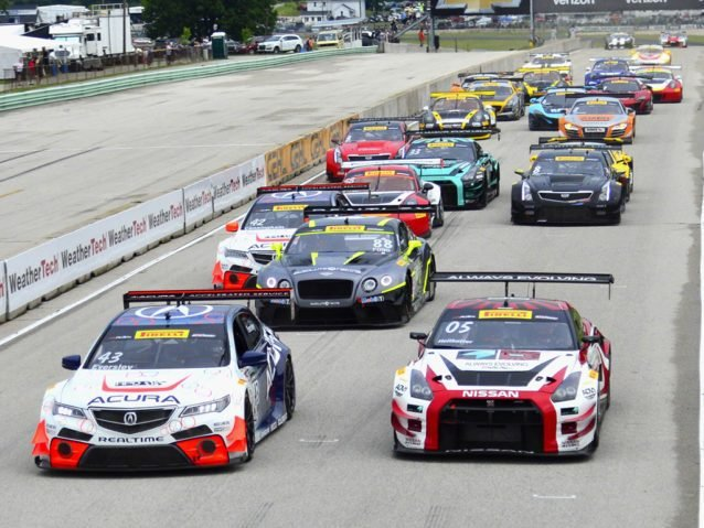 Elkhart, WI - Jun 26, 2016: The Pirelli World Challenge racers take to the track on Pirelli tires during the Pirelli World Challenge Road America Grand Prix presented by Cadillac at the Road America in Elkhart, WI.
