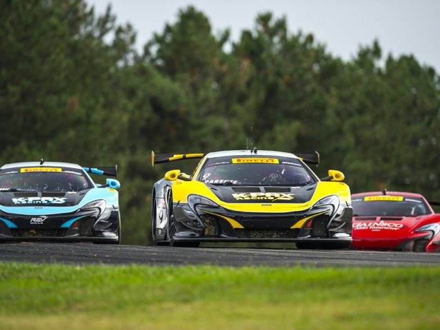 Lexington, OH - Jul 30, 2016: The Pirelli World Challenge racers take to the track on Pirelli tires during the Mid–Ohio Sports Car Course presented by Honda Racing at the Mid-Ohio in Lexington, OH.