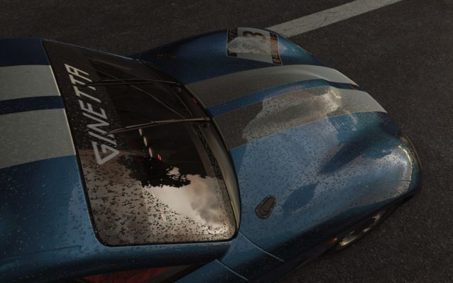 Raindrops dress the Ginetta G40 in Slightly Mad Studios Project CARS.