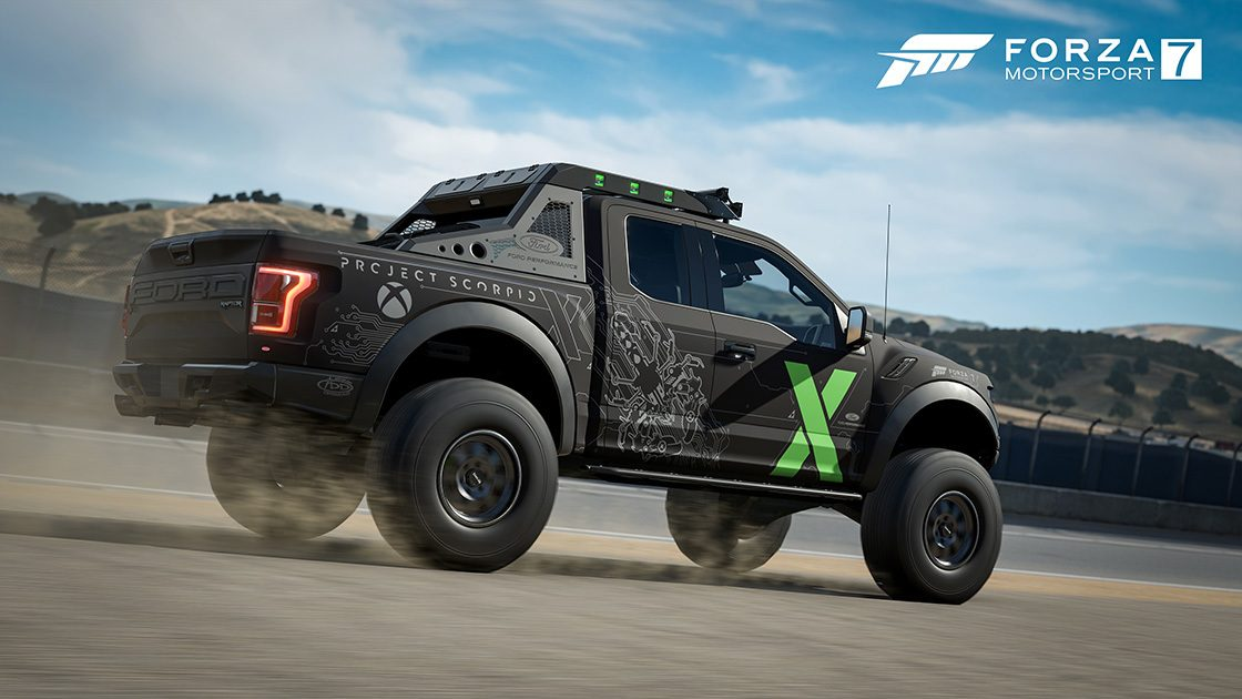 f 150 raptor gets the full bro dozer treatment as latest forza 7 free car. Black Bedroom Furniture Sets. Home Design Ideas